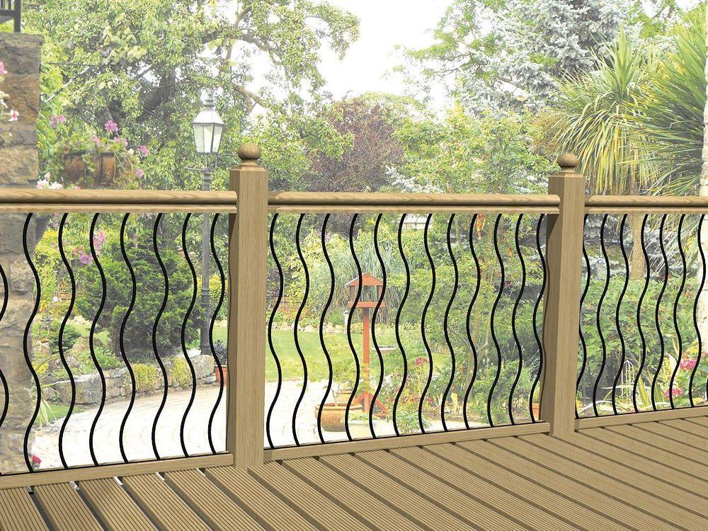 Pack Of 4 X Wavy Metal Decking Panel / Infill Bars / Railings Inc Screws In  Garden U0026 Patio, Garden Fencing, Railings