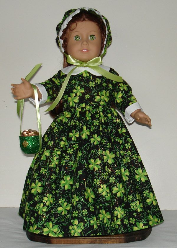 St. Patrickcs Day Colonial dress fits American Girl Felicity or Elizabeth with accessories No. 509 by MargaretteDesigns4AG on Etsy