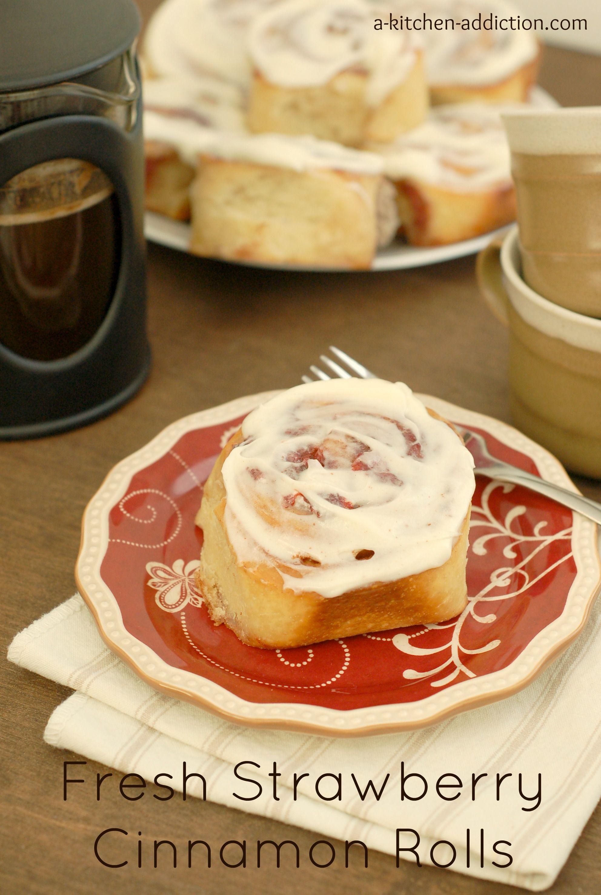 Fresh Strawberry Cinnamon Rolls Bread - Heart Baked