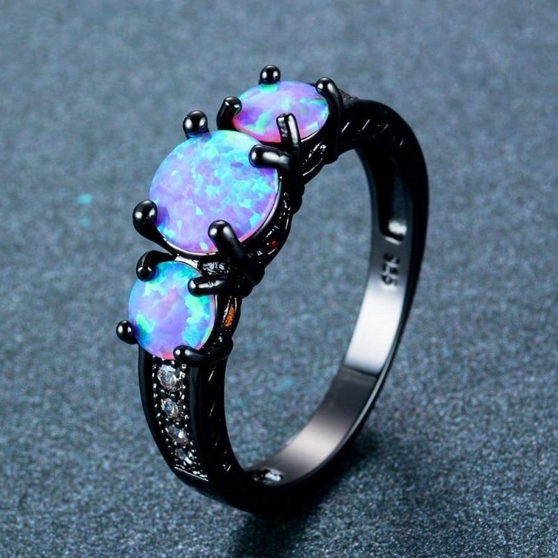 Pink Fire Opal Tri Stone Black Ring