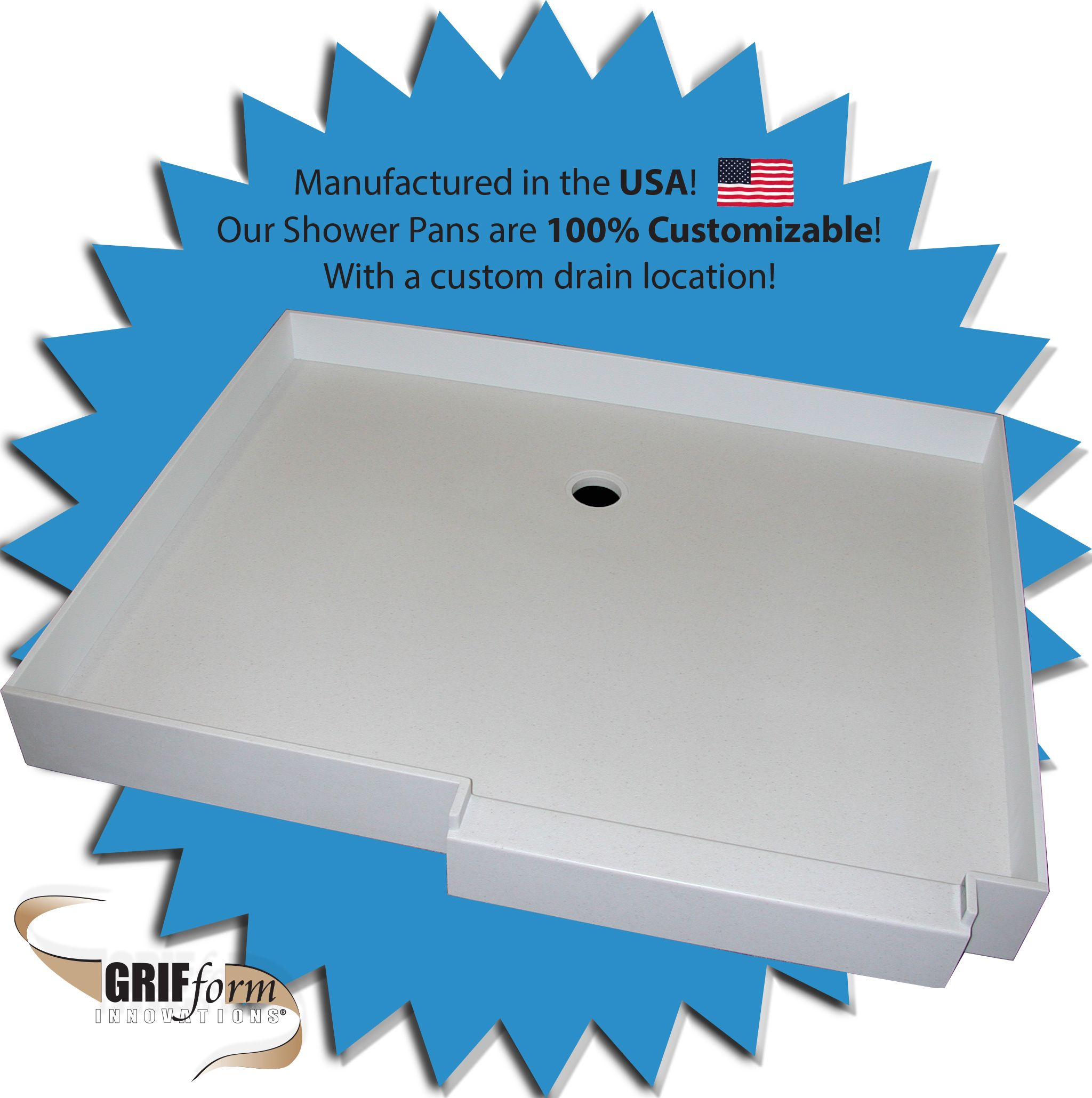 Grifform® Custom Shower Pans are built to any shape, size and custom ...