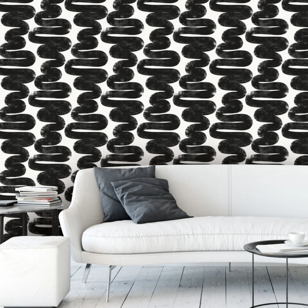 Wiggle Room Self Adhesive Wallpaper in White and Black by