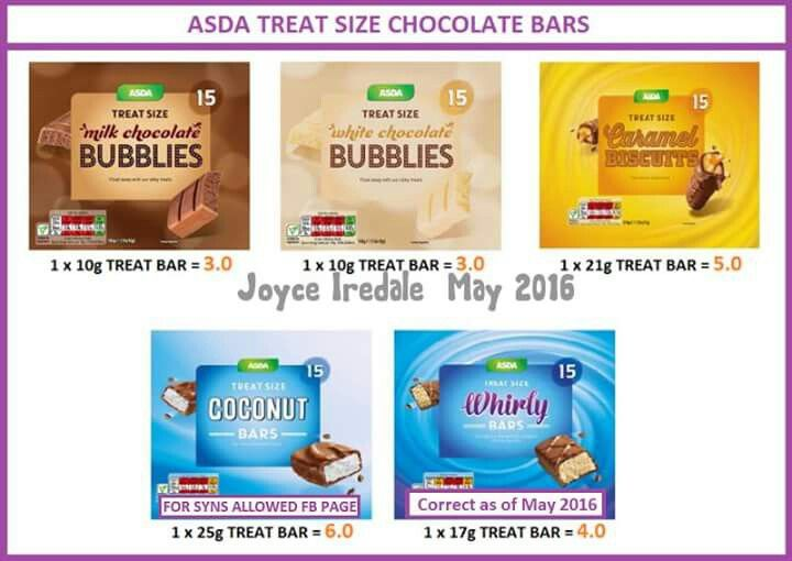 Asda Treat Size Choc Syns Slimming World Dinners Slimming