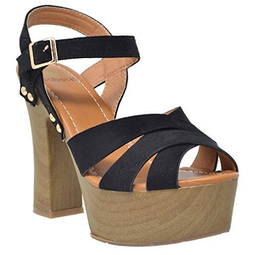 2f8875145cc SOBEYO Womens Platform Sandals Strappy Open Toe Studded Wood Chunky High  Heel Shoes Black SZ 10     See this great product. (This is an affiliate  link)