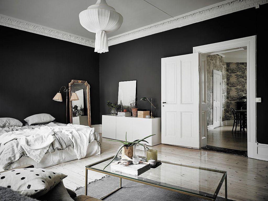 Black White Scandinavian Interiors That Explore The Dark Side Scandinavian Design Bedroom Home Small Room Bedroom