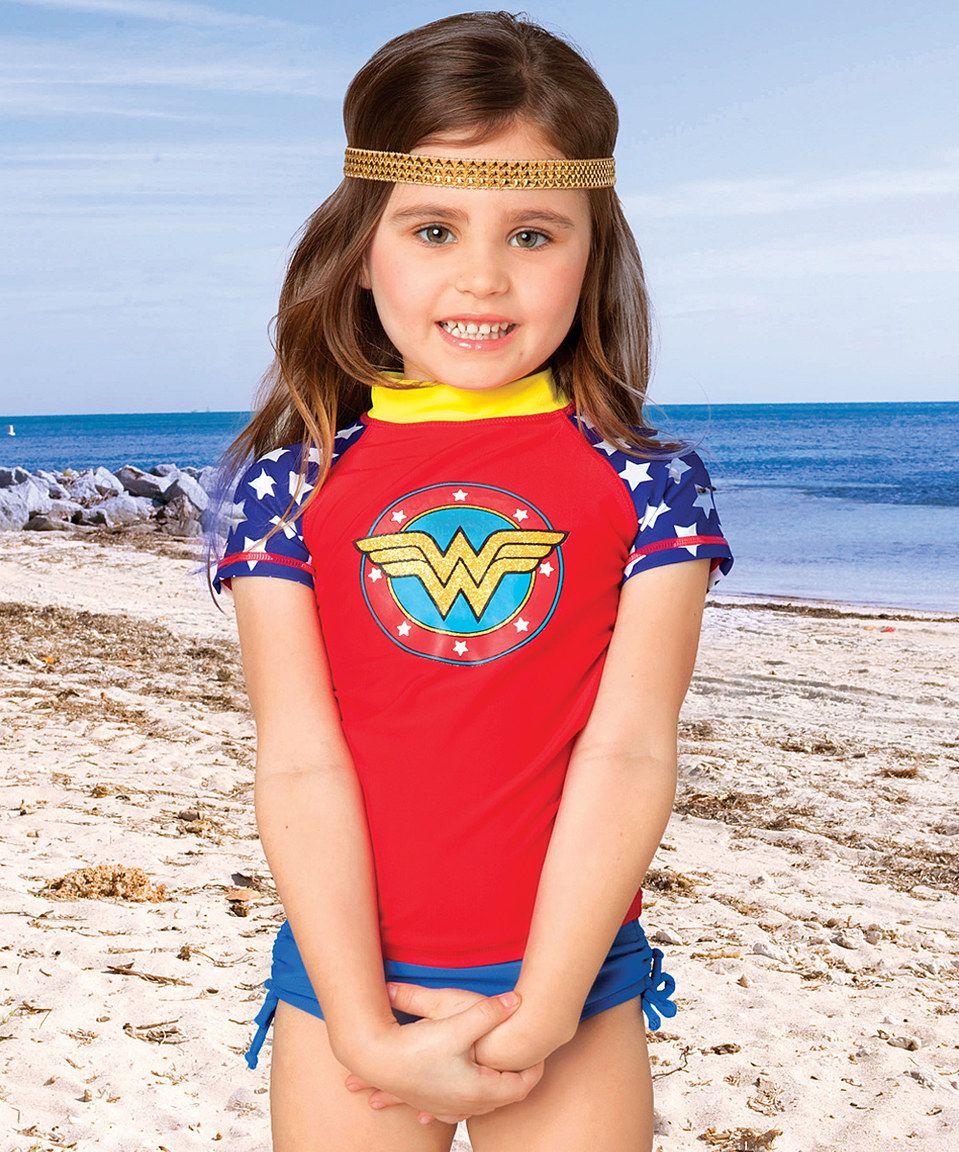 6aa88ae854fee Love this Red Wonder Woman Rashguard - Girls by Wonder Woman on #zulily!  #zulilyfinds