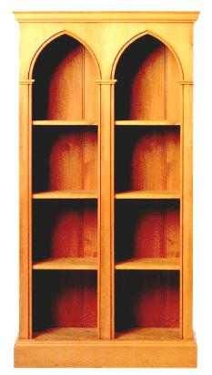Gothic Gothique Wooden Pine Double Bay Bookcase Gothic Furniture