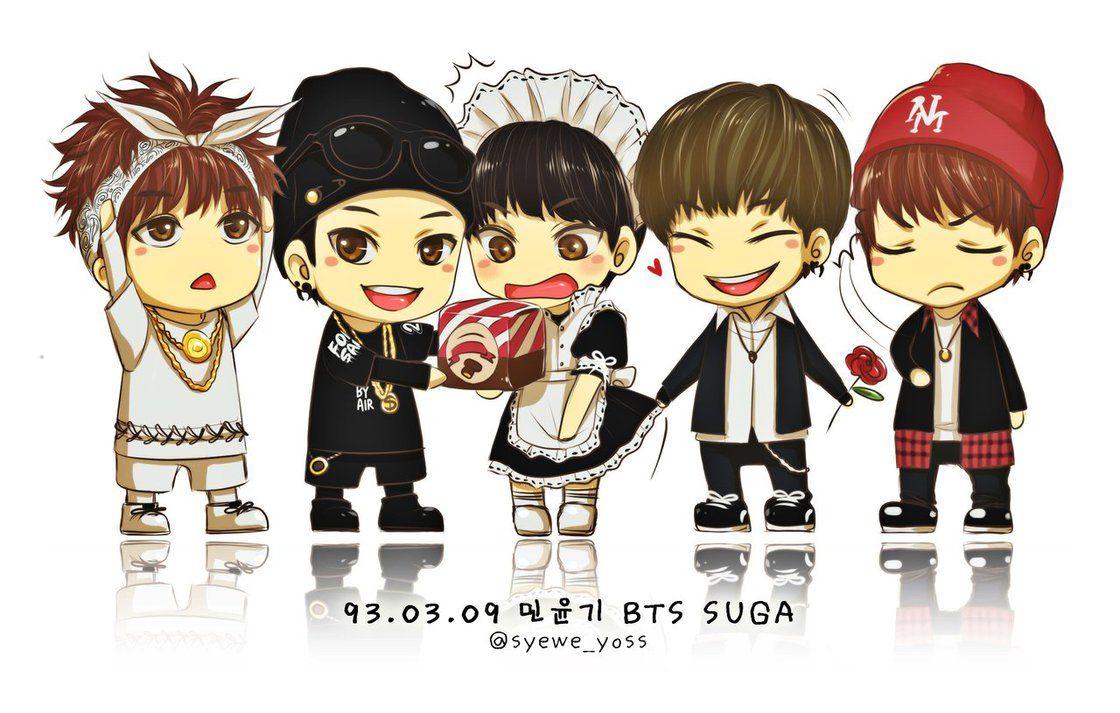 BTS 01 5 versions of Suga by syeweyoss Bts chibi, Chibi
