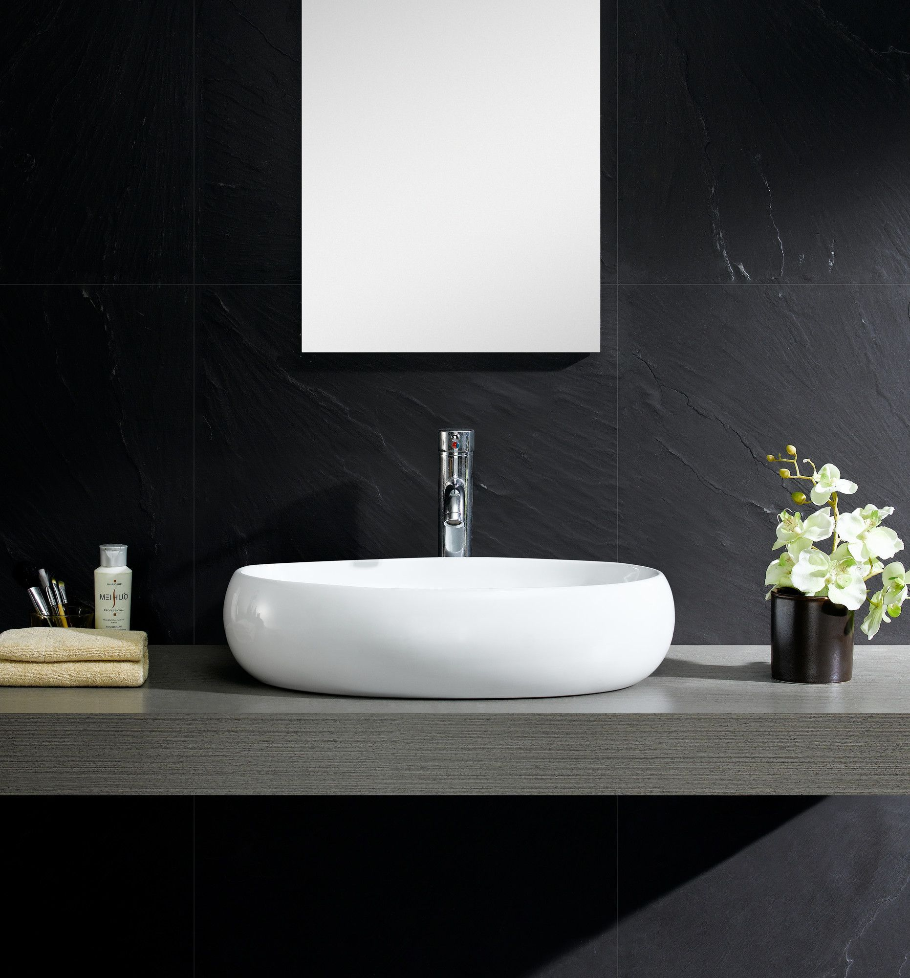 Modern Ceramic Oval Vessel Bathroom Sink | Vessel sink, Sinks and ...