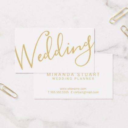 Modern Script WhiteGold Wedding Planner Business Card