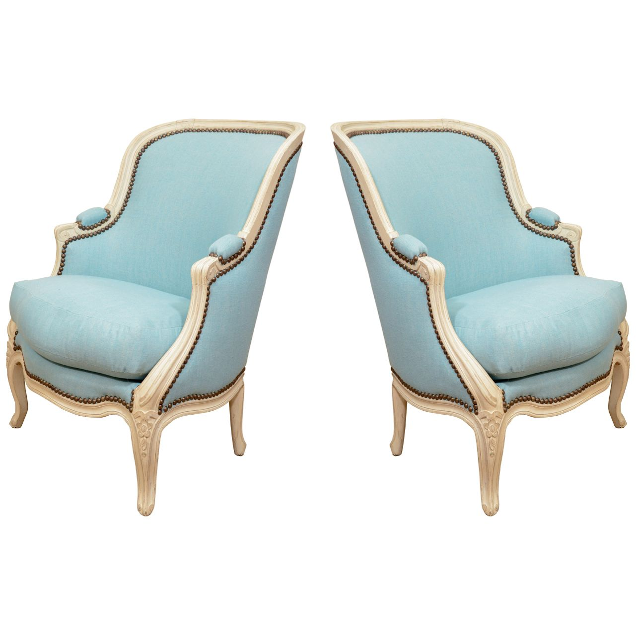 Pair Of Small French Louis XV Style Bergeres   1stdibs.com