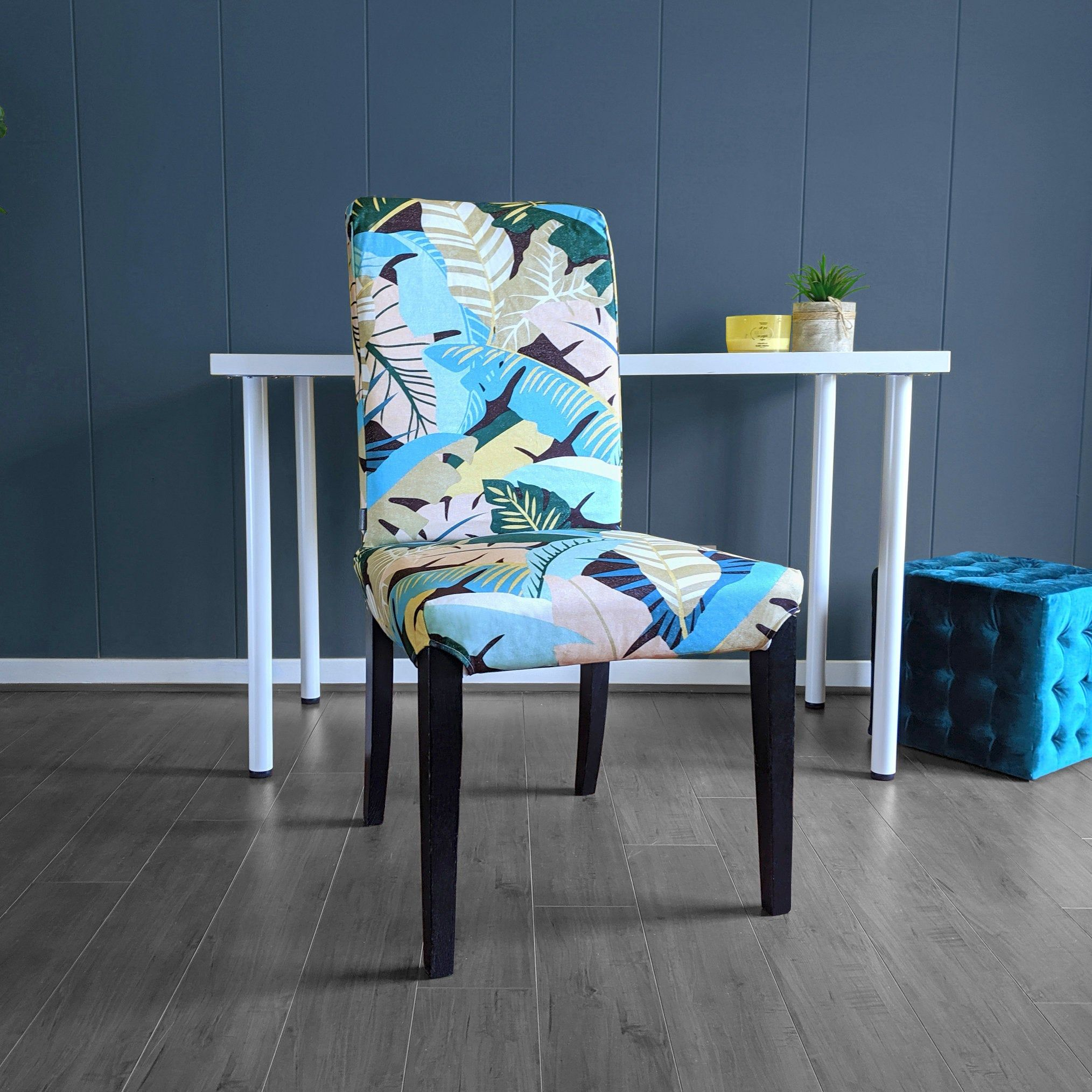 Blush Pink Teal Jungle Print IKEA HENRIKSDAL Dining Chair