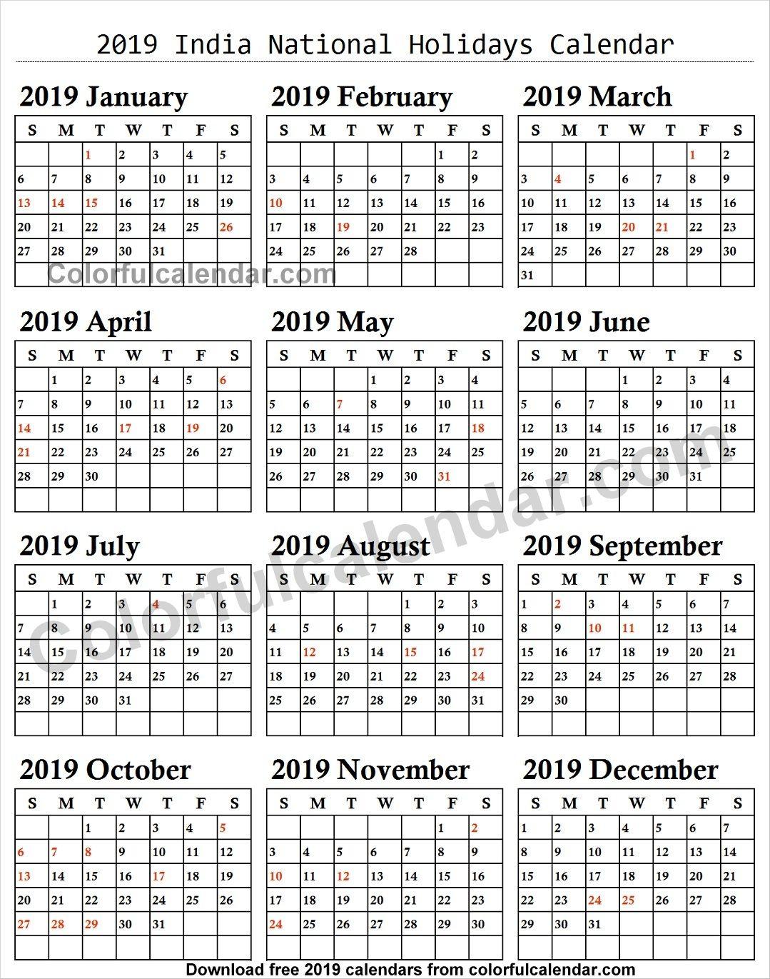 2019 School Holidays India Calendar Holiday Calendar National