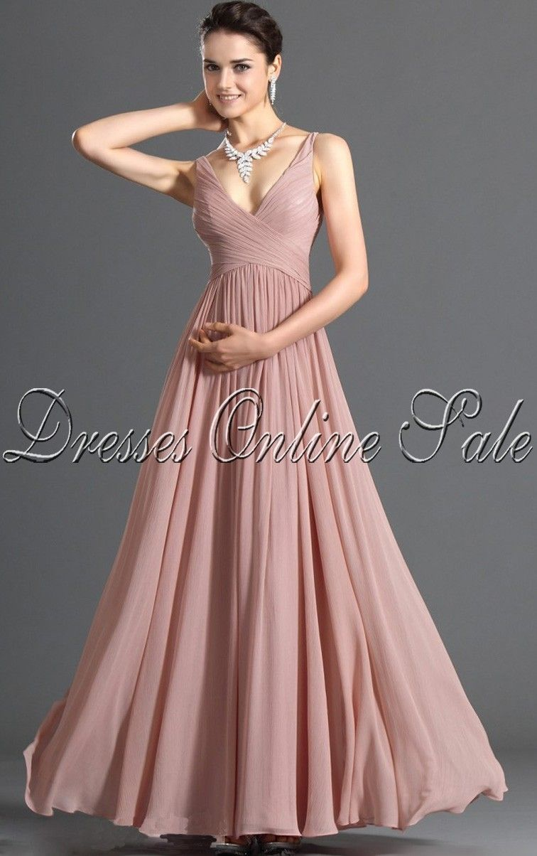 Bridesmaids royal sheath floorlength vneck pink chiffon dress