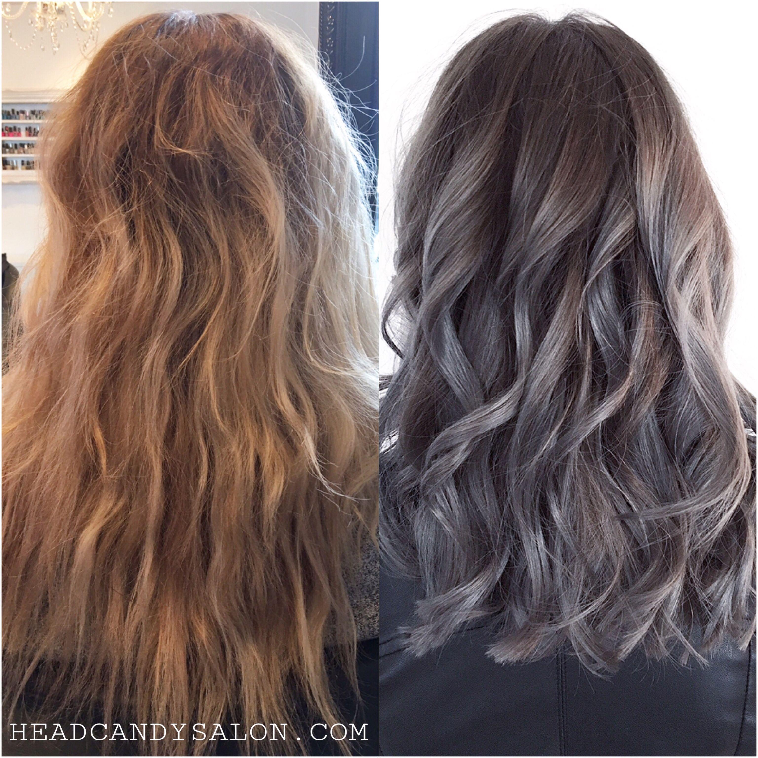 Ash Brown Metallic Charcoal Grey Using Schwarzkopfpro Beforeandafter Hairtransformation Grey Greyhair Charcoal Hair Ash Hair Color Cool Hair Color