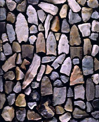 Clovis Culture 9500 B C To 8000 All Of The Complete And Broken Projectile Points Are Shown Along With Several End Sers Side