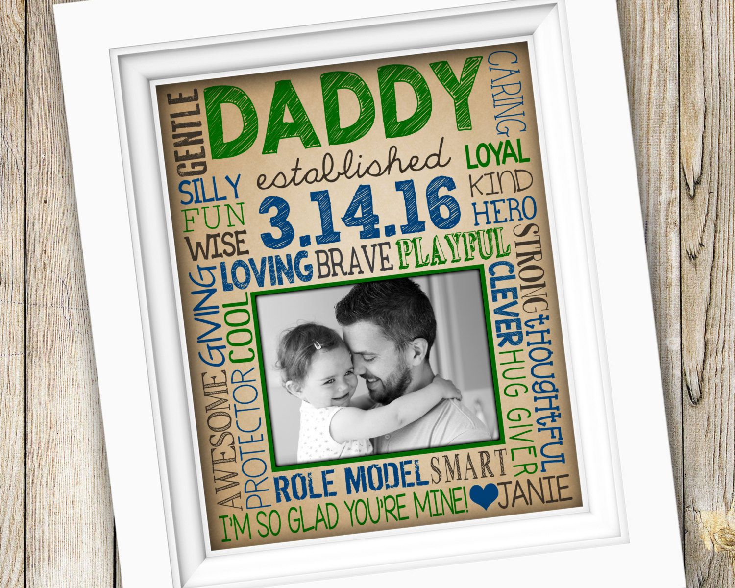 First Time Dad Gift New For Daddy Fathers Day Printable Baby Photo Est Birthdate From Child DIGITAL By SubwayStyle