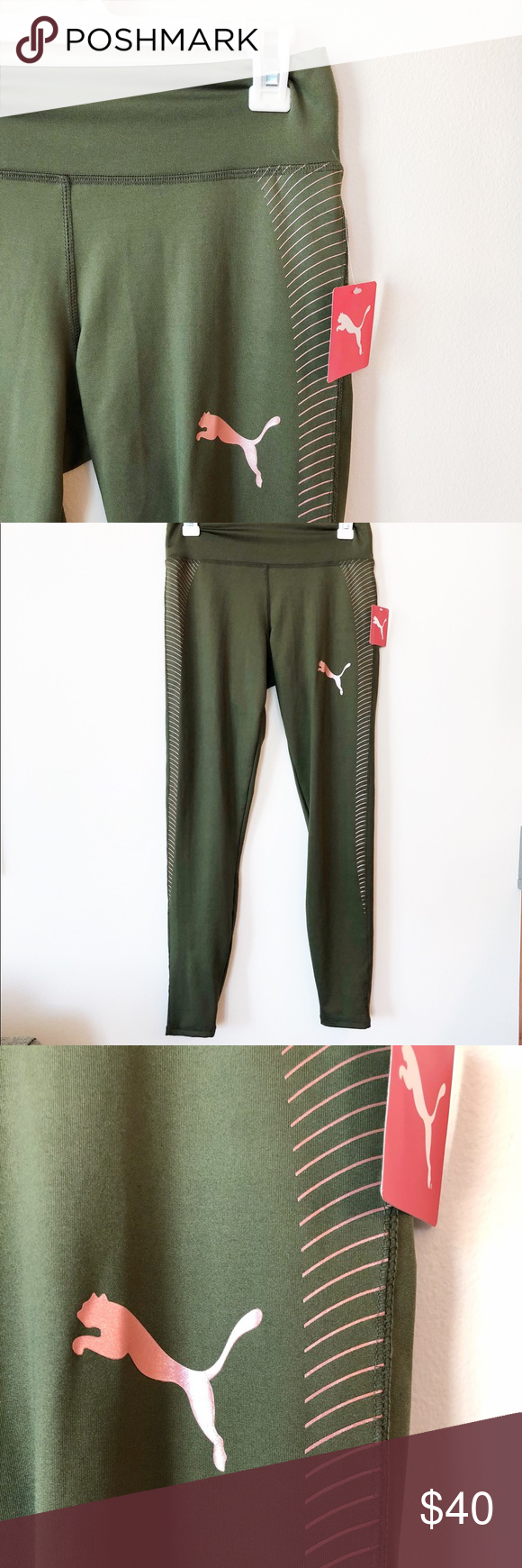 372c157d83b58a NEW Puma leggings athletic exercise pants green LOVE this color  combination! These olive green