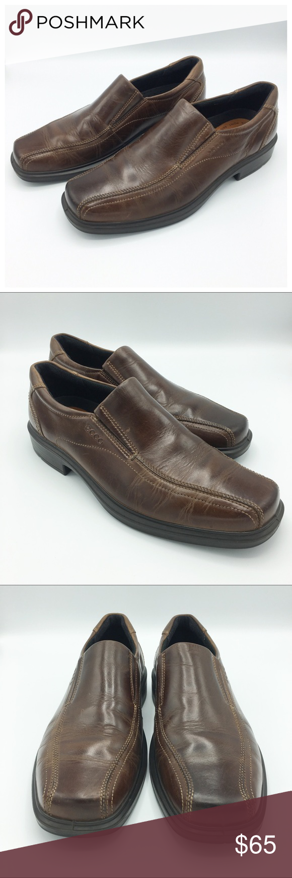 96eacb588f2 Ecco Brown Leather Helsinki Slip On Shoes Ecco Brown Leather Helsinki Slip  On Shoes Color  Brown Condition  NWOB Feature  Authentic Comfort Light PU  ...