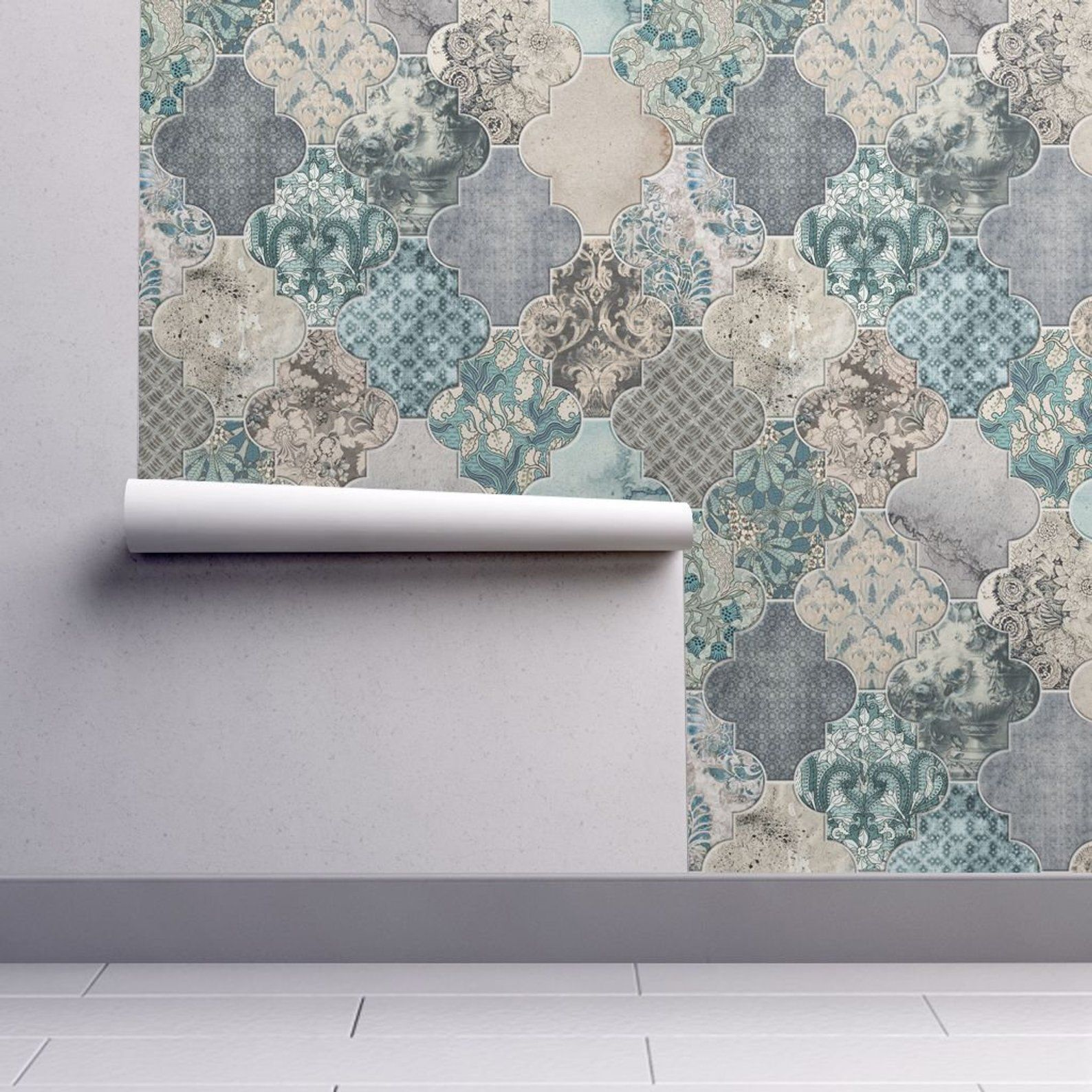 Moroccan Tiles Wallpaper Duck Egg Blue REMOVABLE Peel and