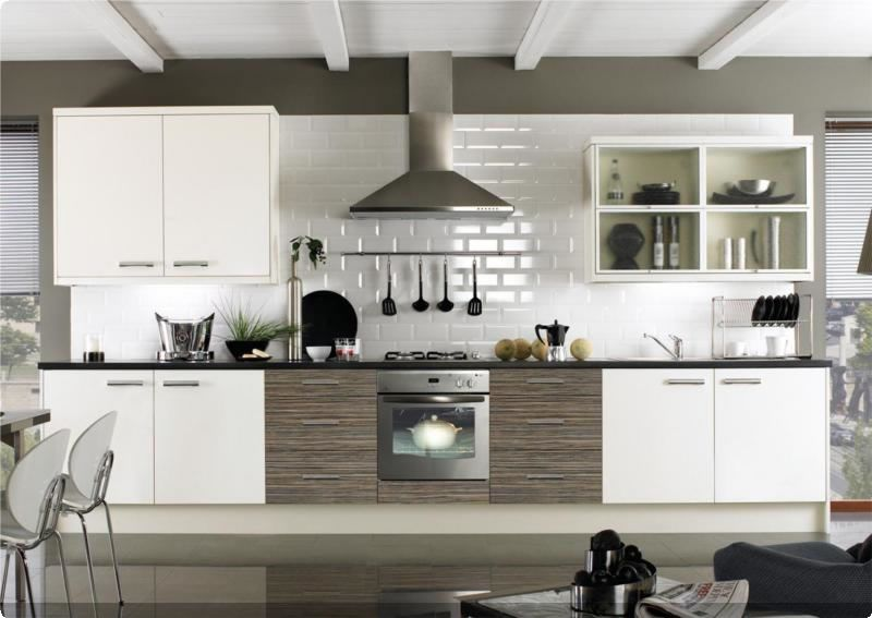 Zebrano And Cream Gloss Kitchen Like The Combination And The Color Blocking Style Up Home - Billige Küchenschränke