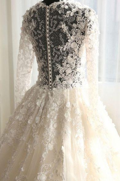 vintage wedding dresses with appliques, affordable sheer back ...