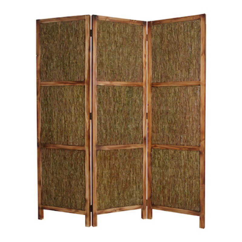 Screen Gems Knotted Fern Panel Room Divider in Wooden Frame - 63W x ...