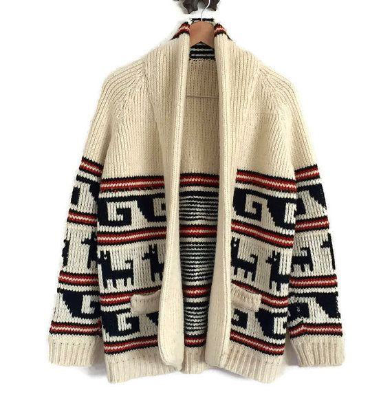 7c266e5186e414 60s Handknit Thick Wool CARDIGAN SWEATER Cowichan Style Chunky Knit Alpacha  Llama Peruvian Pattern Knitwear Shawl Collar Big Lebowski Unisex