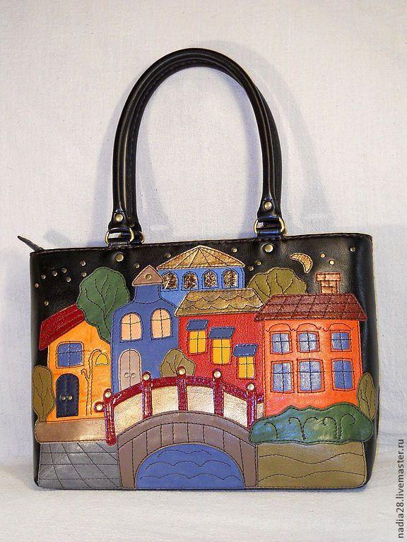 87257c9fae7a Купить Сумка из кожи с аппликацией Вечерний город - сумка из кожи,  Аппликация, сумка с декором, разноцветная