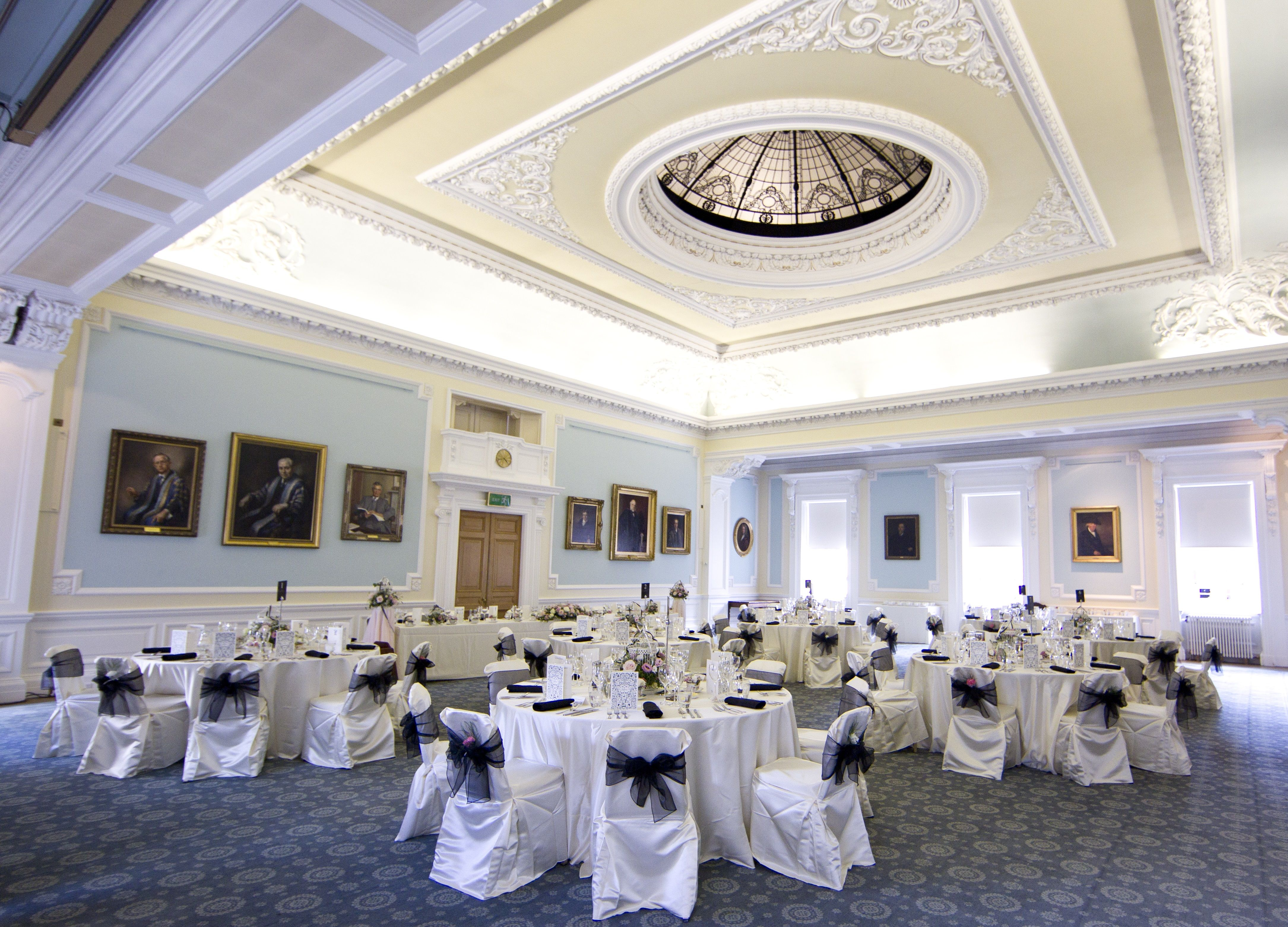 Royal College of Surgeons wedding reception, white & blue wedding ...
