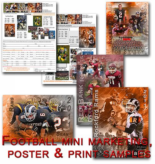 Football mini marketing kit and poster samples includes:  Fully editable PSD flyer themed for Football  Fully editable PSD order form themed for Football both include suggested pricing but pricing can be changed to whatever suits your business needs.  Ready to print samples  Fully layered  Pride and  Two Three poster sample to see how we put them together  All for immediate download  http://www.templatesunlimited.com/proddetail.asp?prod=FBMARKETING