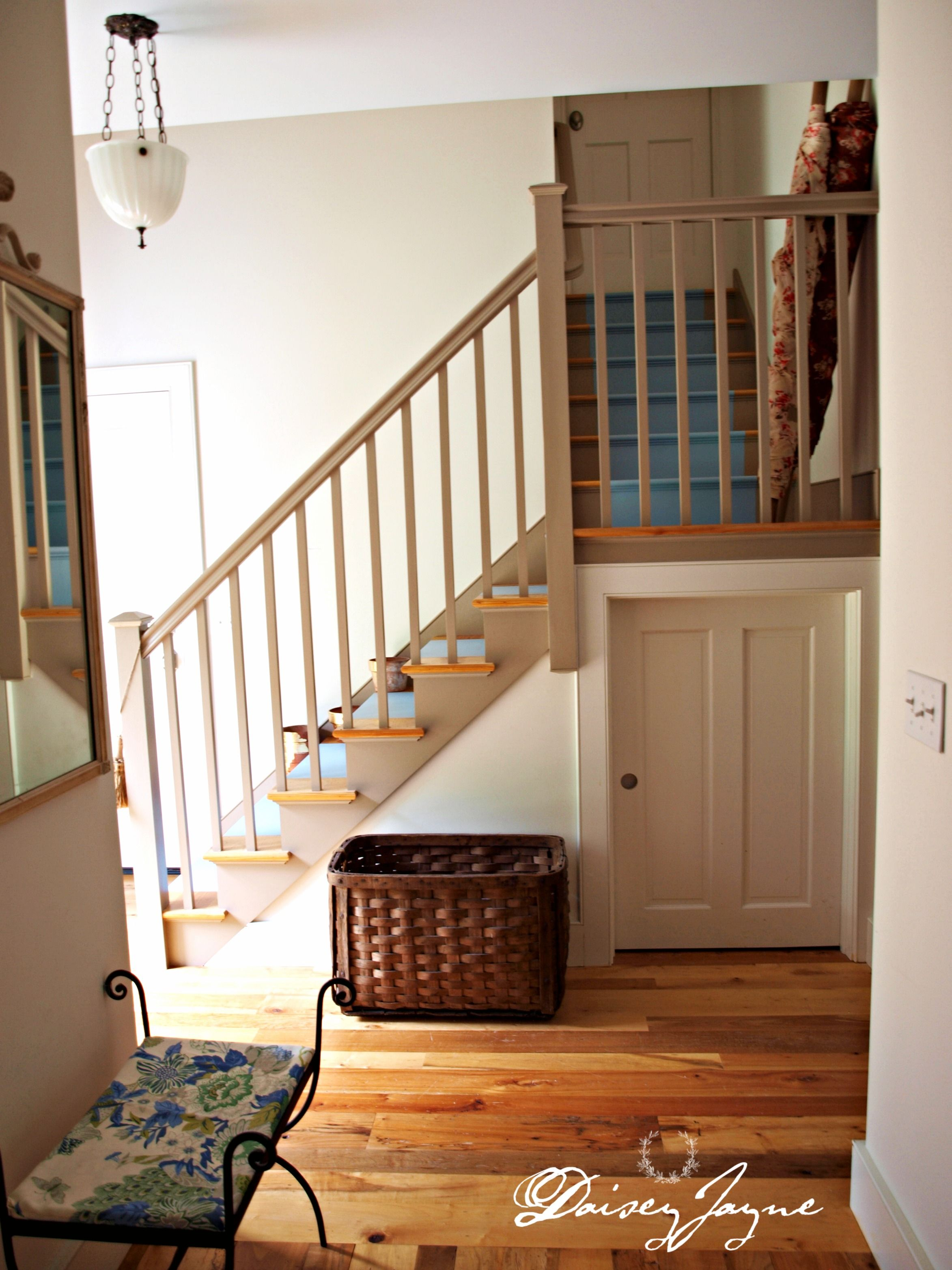 High Quality Best Paint For Stair Banisters | Blue Chenille Carpet Runner For Stairs  With Simplistic Wooden Banister