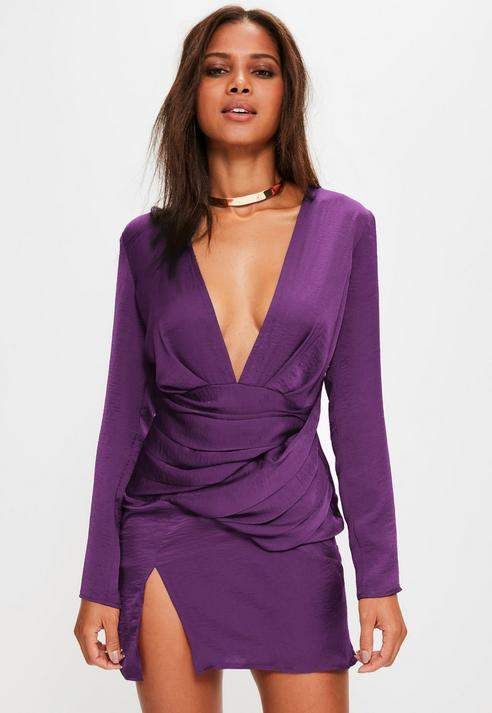d88256c700 Missguided Purple Satin Panelled Long Sleeve Shift Dress