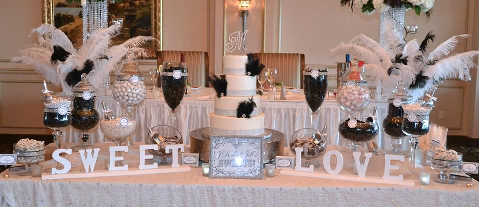 black and white wedding candy buffet table