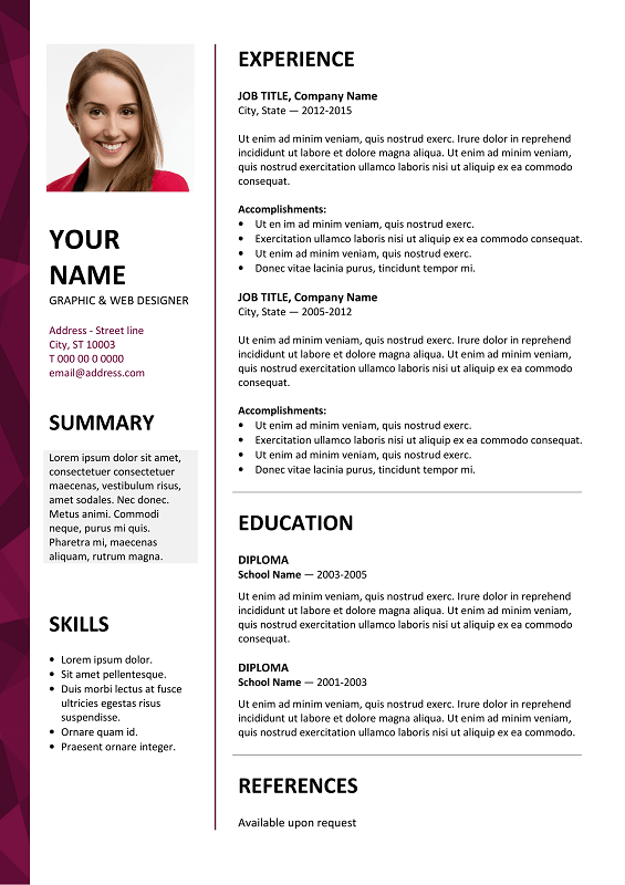 Dalston Free Resume Template Microsoft Word - Purple ...