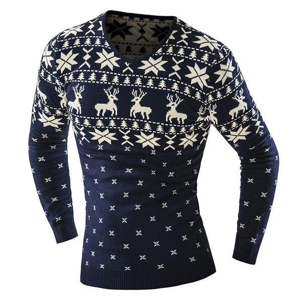 Mens Fashion Casual Deer Printing Knitted Sweater V-neck Long Sleeve Pullover at Banggood