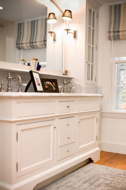 A Furniture Look For Your Bathroom Vanity Stock Cabinets Traditional Bathroom Bathroom Furniture