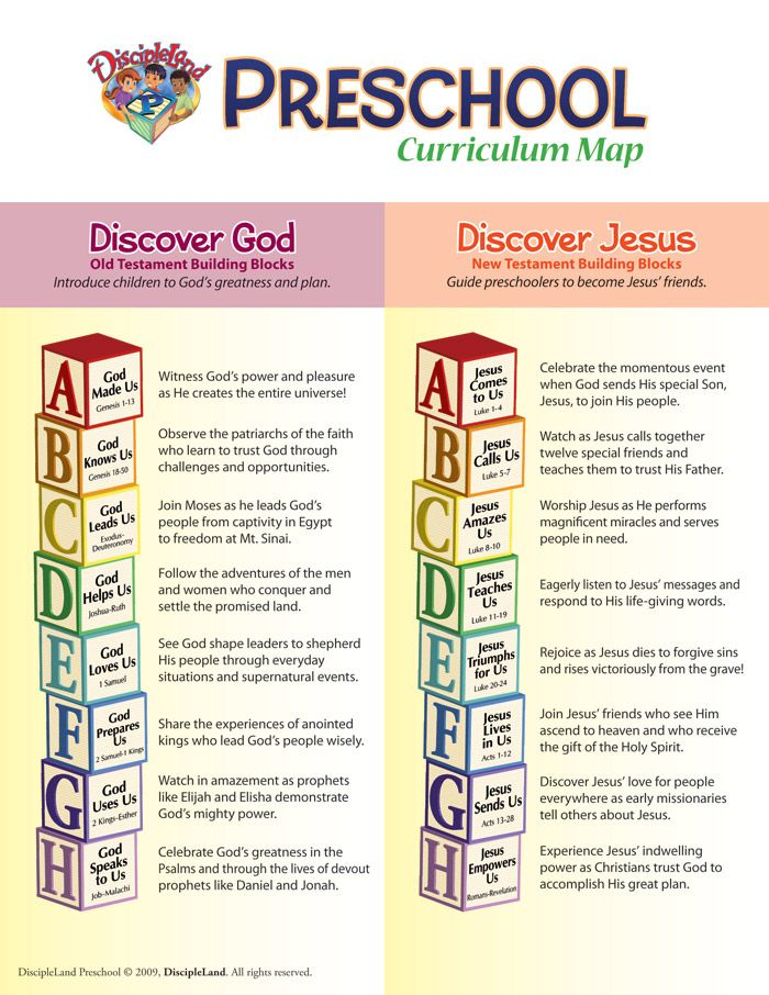 Preschool Curriculum For More Information About Visit Discipleland
