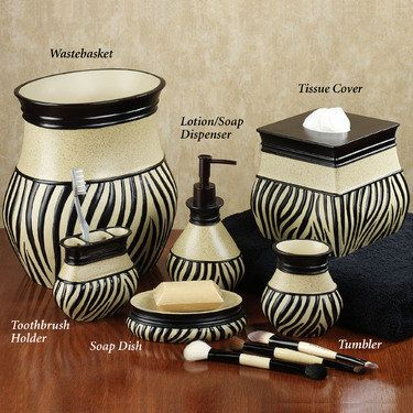 Zuma Zebra Bath Accessories Zebra Bathroom Zebra Decor Set Decor