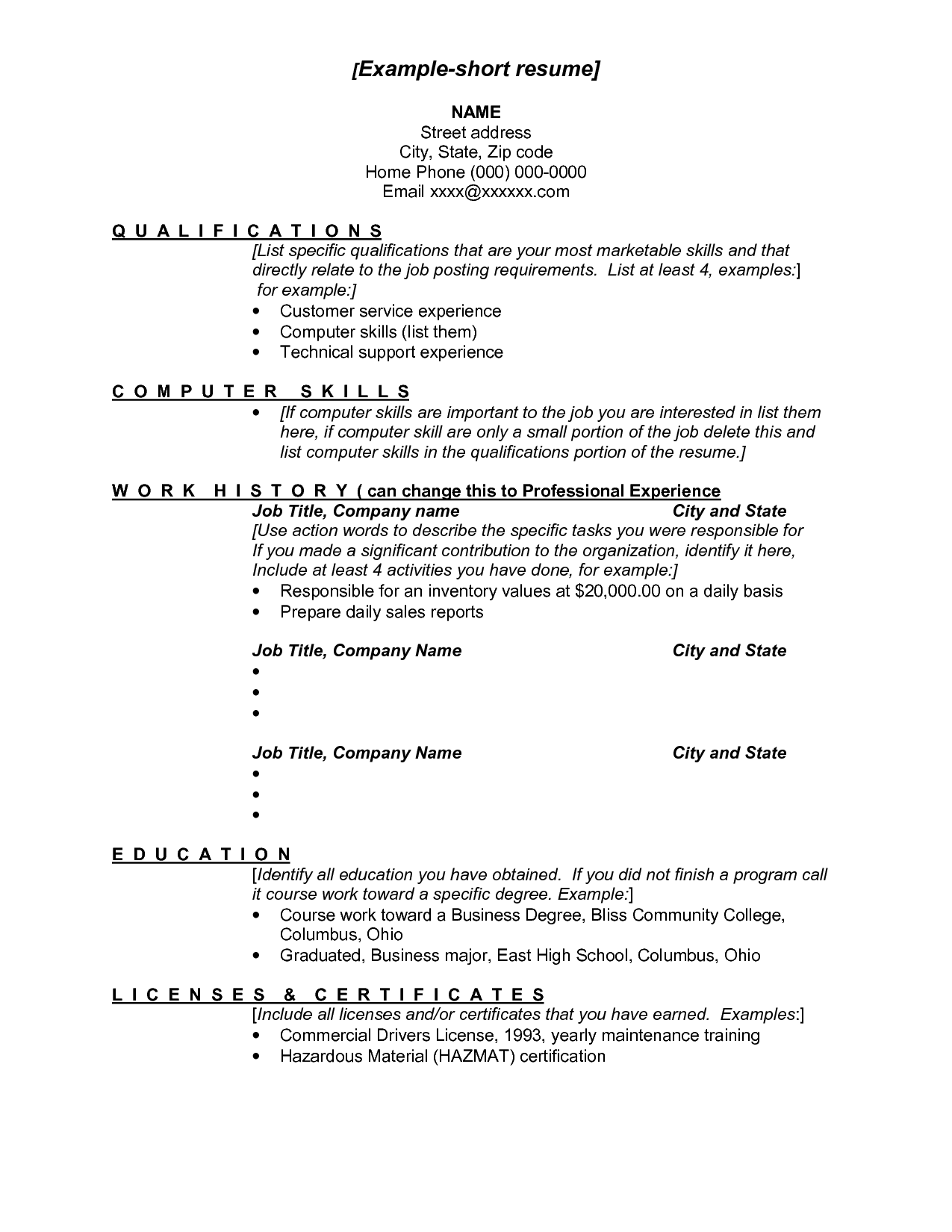 Examples Of A Short Resumes  ExampleShort Resume  Short Resume