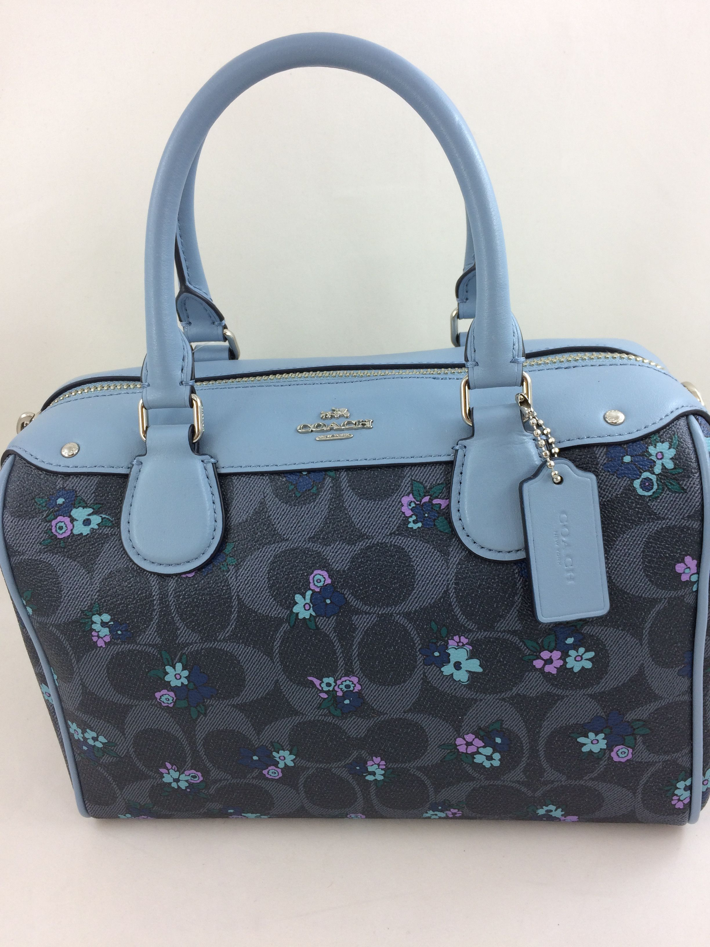 b49239c0f8 New Authentic Coach F59461 Mini Bennett Satchel Handbag  Shoulder Bag in  Ranch Floral Print Blue Multi  WomensShoulderbags