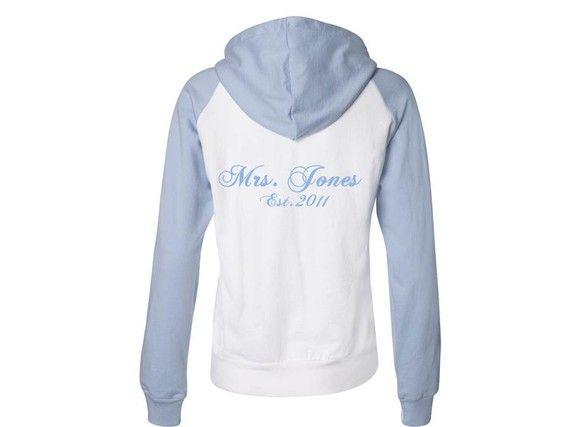 MRS CUSTOM Fleece Zip Up Hoodie Light Blue OR by pinkvelvetpress, $35.00