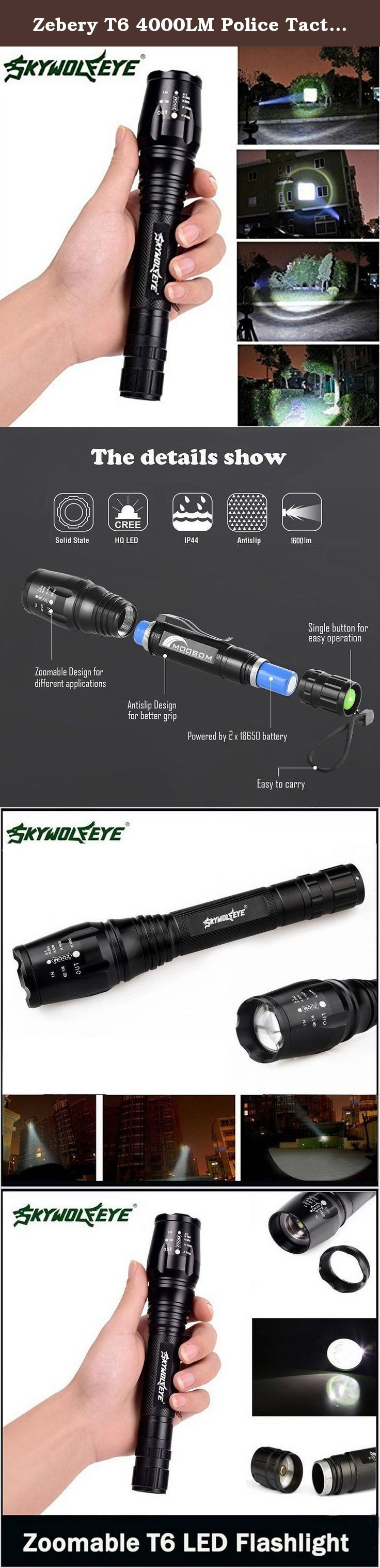 Zebery T6 4000LM Police Tactical LED Flashlight Light Torch Lamp for Outdoor Camping ,Black.