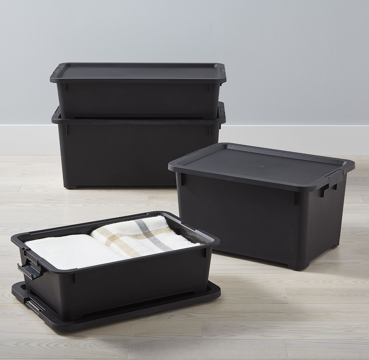 With Recessed Wheels And Secure Fit Lids Our Rolling Storage Totes Are An Easy Dependable Solution For Garages Plastic Storage Totes Storage Rolling Storage