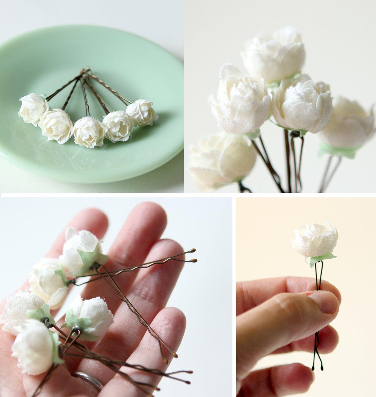 Flower Hair Pins For Wedding: White Rose Bobby Pins, Flower Hair Clips, Bridal Accessory