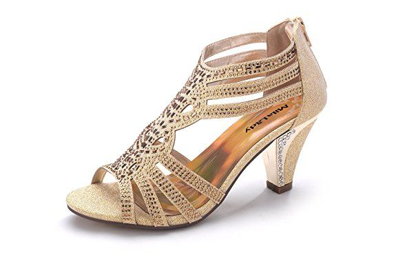 Mila Lady Women's Lexie Crystal Dress Sandals, Gold 9