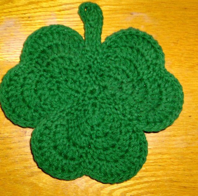 crochet+shamrock+potholder | Ravelry: cat3crazy\'s Shamrock Potholder ...
