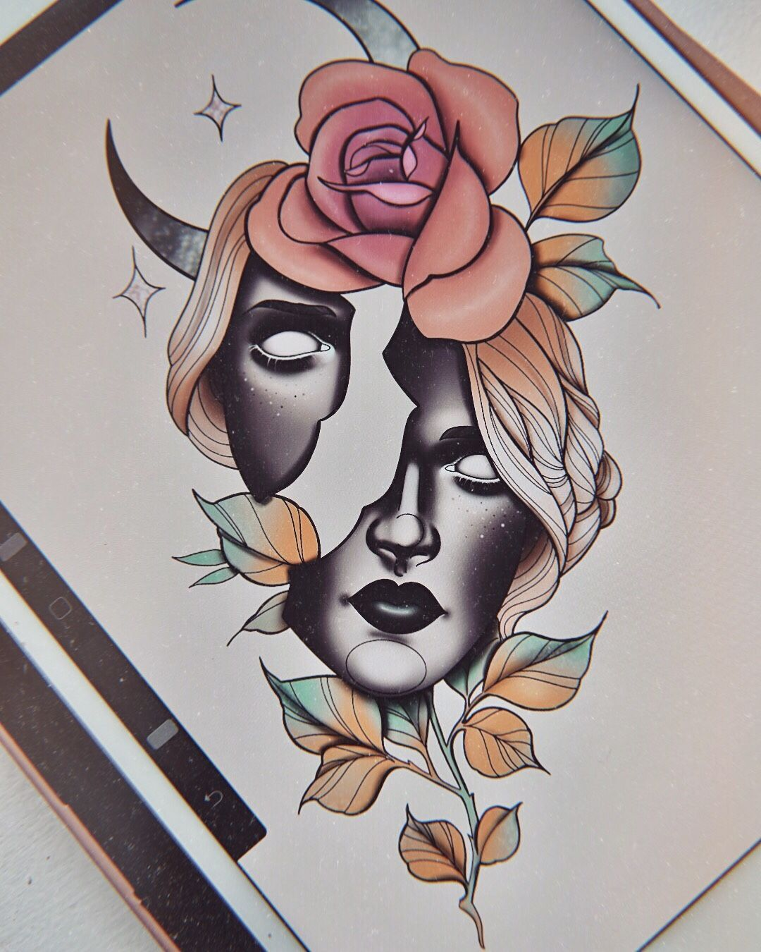 Lady Face Flower Moon Rose Tattoo Design Laurenceveillx In 2020 Rose Tattoo Design Tattoo Designs Tattoo Style Drawings
