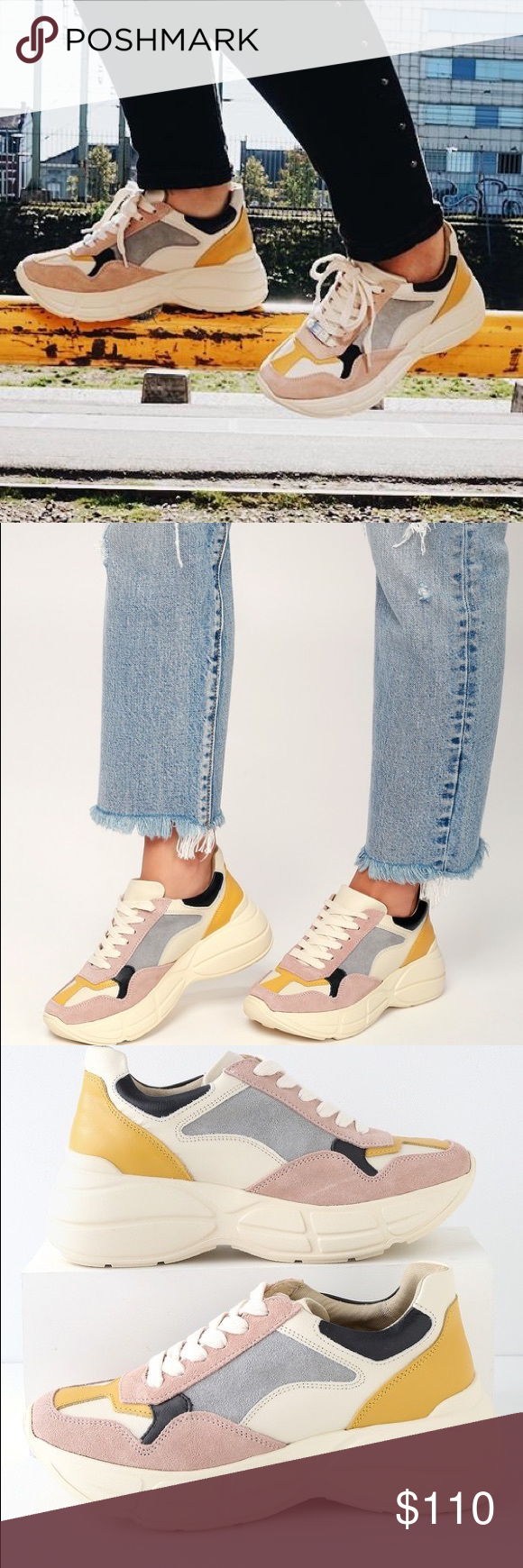 9b5f67dc5cc Steve Madden Memory Pink Multi Leather Sneakers Step out in runway style  with the Steve Madden