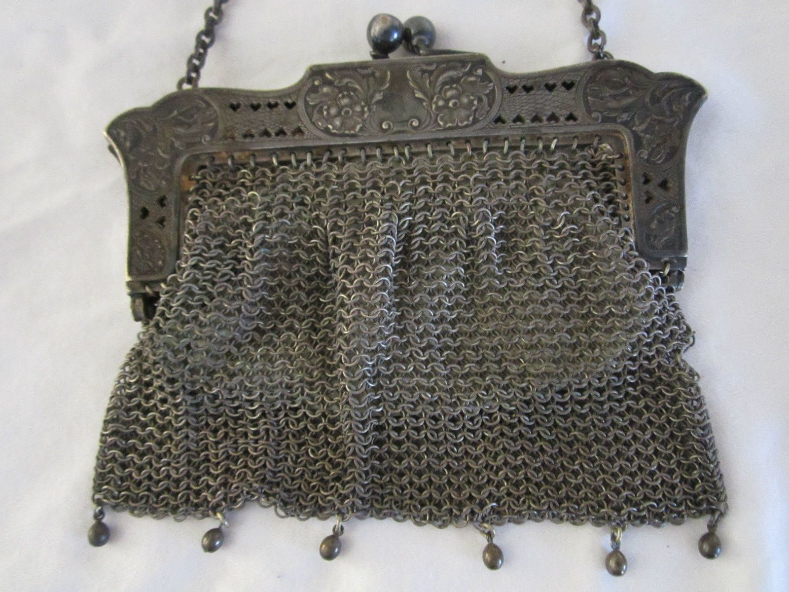 Antique Victorian Art Noveau German Silver Mesh Pocketbook with Chain